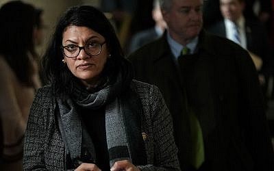 US Rep. Rashida Tlaib (Democrat-Michigan) leaves after a caucus meeting at the US Capitol in Washington, DC, January 9, 2019. (Alex Wong/Getty Images via JTA)