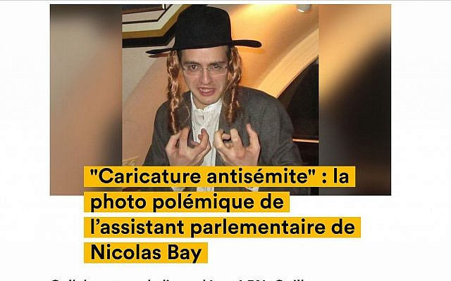 Guillaume Pradoura, an aide to National Assembly leader Nicolas Bay, posing in 2013 while wearing an Orthodox Jew costume. (screenshot news.konbini.com via JTA)