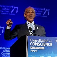 Al Sharpton speaking at the Reform movement's Religious Action Center conference in Washington, DC, May 20, 2019. (RAC)