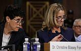 Debra Katz, left, looks on as Christine Blasey Ford testifies before the Senate Judiciary Committee, September 27, 2018. (Win McNamee/Getty Images/via JTA)