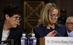 Debra Katz, left, looks on as Christine Blasey Ford testifies before the Senate Judiciary Committee, September 27, 2018. (Win McNamee/Getty Images/via JTA)