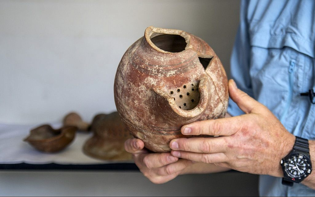 A beer cruse from Tel Tzafit/Gath archaeological digs, from which Philistine beer was produced. (Yaniv Berman/ Courtesy of the Israel Antiquities Authority)