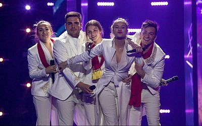 The singing group D Mol from Montenegro at their first rehearsal May 4, 2019 in Tel Aviv for the 2019 Eurovision Song Contest.  (Andres Putting, EBU)