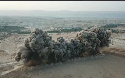 The IDF Combat Engineering Corps released photos on May 26, 2019, showing the simultaneous detonation of 900 landmines during demining work at the Land of the Monasteries near Jericho. (IDF)