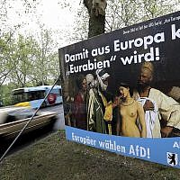 In this Monday, April 29, 2019 photo, an election campaign poster of the Alternative for Germany (AfD) party displayed next to a road in Berlin, Germany. (AP Photo/Michael Sohn)