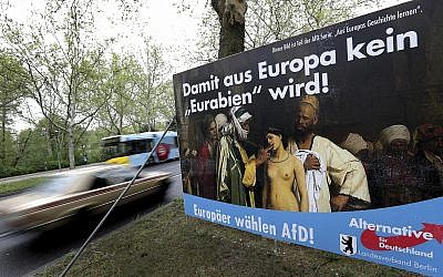 In this April 29, 2019 photo, an election campaign poster of the Alternative for Germany (AfD) party stands next to a road in Berlin, Germany. (AP Photo/Michael Sohn)