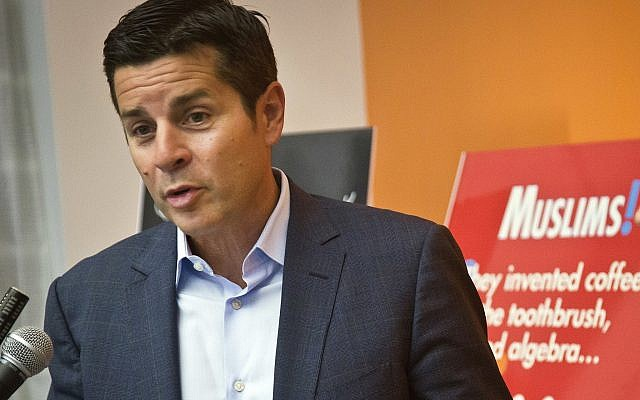 In this photo from June 25, 2015, Muslim comedian Dean Obeidallah speaks at a news conference in New York. (AP Photo/Bebeto Matthews, File)