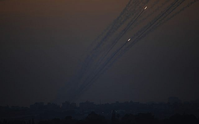 Illustrative: Rockets are launched from Gaza Strip to Israel, May 5, 2019.  (AP Photo/Ariel Schalit)