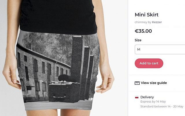 A screen grab made on May 8, 2019 from the site of an online vendor showing an Auschwitz-themed product for sale. (Photo via AP)