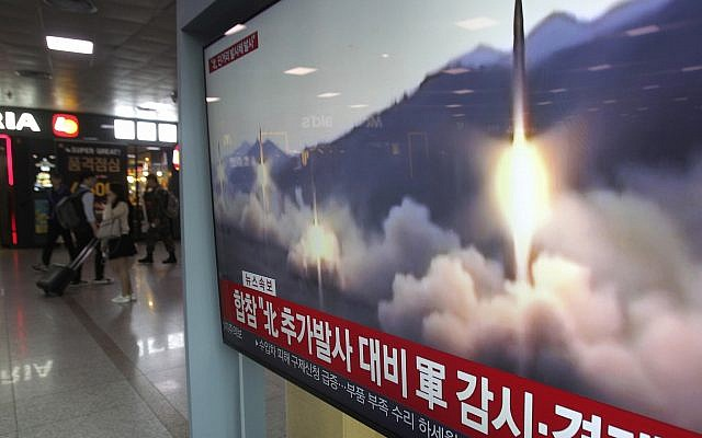 Illustrative: A TV screen shows file footage of a North Korean missile launch during a news program at the Seoul Railway Station in Seoul, South Korea, May 4, 2019. (Ahn Young-joon/AP)