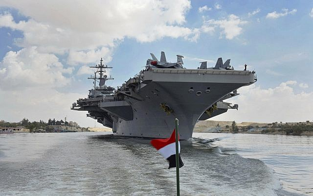 The USS Abraham Lincoln sails south in the Suez Canal near Ismailia, May 9, 2019. (Suez Canal Authority via AP)