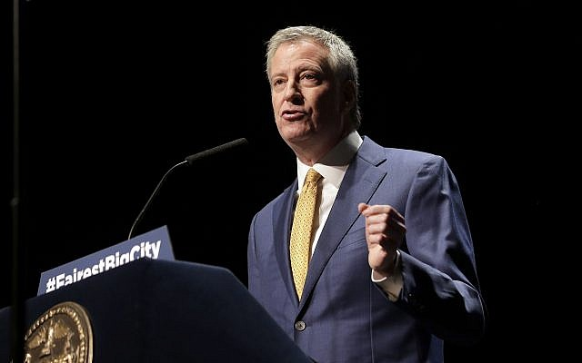 In this January 10, 2019, file photo, New York City Mayor Bill de Blasio speaks at his State of the City address in New York. (AP Photo/Seth Wenig, File)