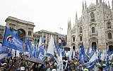 People attend a rally organized by League leader Matteo Salvini, with leaders of other European nationalist parties, ahead of the May 23-26 European Parliamentary elections, in Milan, Italy, May 18, 2019. (Luca Bruno/AP)