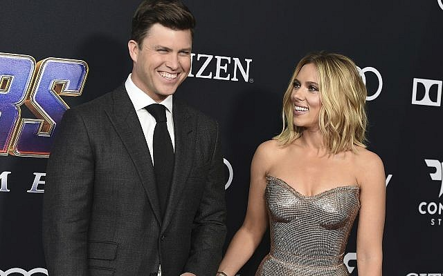 "In this April 22, 2019, file photo, Colin Jost, left, and Scarlett Johansson arrive at the premiere of ""Avengers: Endgame"" at the Los Angeles Convention Center. Wedding bells are in the future for actress Scarlett Johansson and Saturday Night Live's Colin Jost. Johansson's publicist Marcel Pariseau tells The Associated Press Sunday, May 19, 2019, that the private couple is officially engaged after two years of dating. Pariseau says no date has been set for the nuptials. (Photo by Jordan Strauss/Invision/AP, File)"