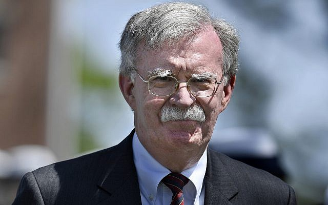 US National Security Adviser John Bolton arrives to speak at the commencement for the United States Coast Guard Academy in New London, Connecticut., May 22, 2019. (AP/Jessica Hill)