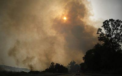 Smoke rises as a wildfire rages near Kibbutz Harel, Israel, Thursday, May 23, 2019.  (AP Photo/Ariel Schalit)