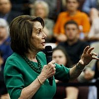 Speaker of the House Nancy Pelosi, D-Calif., gestures as she speaks during panel discussion at Delaware County Community College, Friday, May 24, 2019, in Media, Pa. (AP/Matt Slocum)