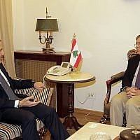 US Deputy Assistant Secretary of State David Satterfield, right, who is attempting to mediate a border dispute between Lebanon and Israel, meets with Lebanese Foreign Minister Gibran Bassil at the Lebanese foreign ministry in Beirut, Lebanon, May 28, 2019. (AP Photo/Hassan Ammar)