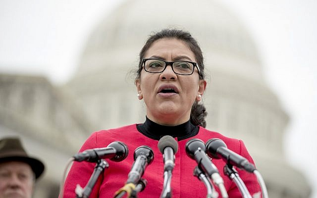 Rep. Rashida Tlaib (D-Michigan) speaks at a news conference on Capitol Hill in Washington, Thursday, Jan. 17, 2019 (AP Photo/Andrew Harnik)