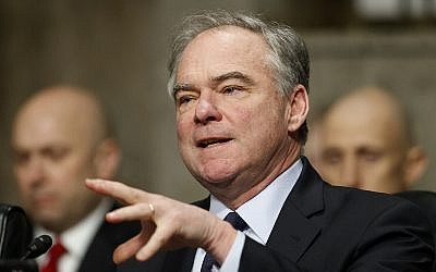 "US Sen. Tim Kaine, D-Virginia, speaks during a Senate Armed Services Committee hearing on ""Nuclear Policy and Posture"" on Capitol Hill in Washington, February 29, 2019. (AP Photo/Carolyn Kaster)"