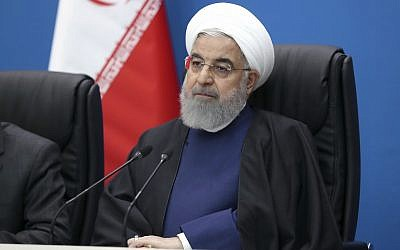 In this photo released by the official website of the office of the Iranian Presidency, Iran's President Hassan Rouhani attends a meeting in the southwestern city of Ahvaz during his tour to Khuzestan province, Iran, March 29, 2019. (Iranian Presidency Office via AP)
