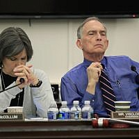 House Appropriations subcommittee Chairman Rep. Peter Visclosky, D-Ind., and Rep. Betty McCollum, D-Minn. (left) listen to testimony during a hearing on US Air Force budget request for FY 2020, on Capitol Hill in Washington, Tuesday, April 2, 2019. (AP Photo/Manuel Balce Ceneta)