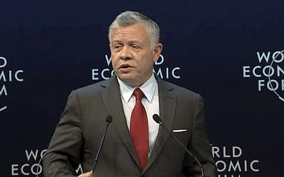 King Abdullah II of Jordan addresses the World Economic Forum at the Dead Sea, Jordan on April 6, 2019. (WEF via AP, Pool)