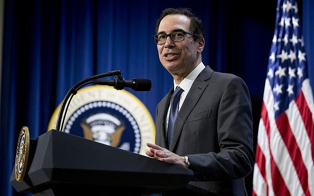 Treasury Secretary Steve Mnuchin speaks during a conference at the Eisenhower Executive Office Building, on the White House complex, April 17, 2019, in Washington. (AP Photo/Andrew Harnik)