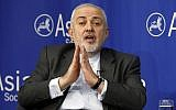 Iran's Foreign Minister Mohammad Javad Zarif speaks at the Asia Society in New York, April 24, 2019. (Richard Drew/AP)