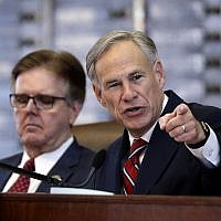 In this Feb. 5, 2019 file photo, Texas Gov. Greg Abbott, right, gives his State of the State address as Lt. Gov. Dan Patrick, left, listens in the House Chamber in Austin, Texas.  (AP Photo/Eric Gay, File)