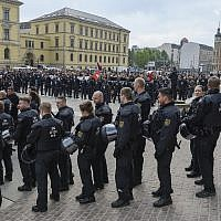 Illustrative: Police secure the demonstration of the far-right party 'Rise of German Patriots' in Leipzig, Germany, May 1, 2019. (Heiko Rebsch/dpa via AP)