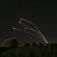 Israeli air defense system Iron Dome takes out rockets fired from Gaza near Sderot, Israel, May 4, 2019. (AP/Ariel Schalit)