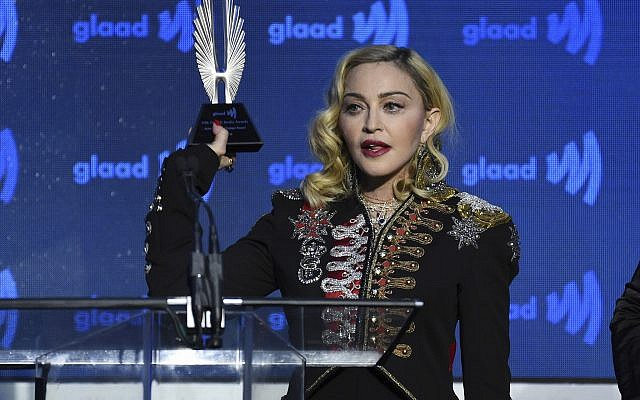 Honoree Madonna accepts the advocate for change award at the 30th annual GLAAD Media Awards at the New York Hilton Midtown in New York, on May 4, 2019. (Evan Agostini/Invision/AP)