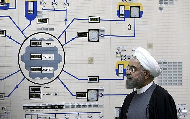 Iranian President Hassan Rouhani visits the Bushehr nuclear power plant just outside of Bushehr, Iran, January 13, 2015. (Iranian Presidency Office, Mohammad Berno/AP)