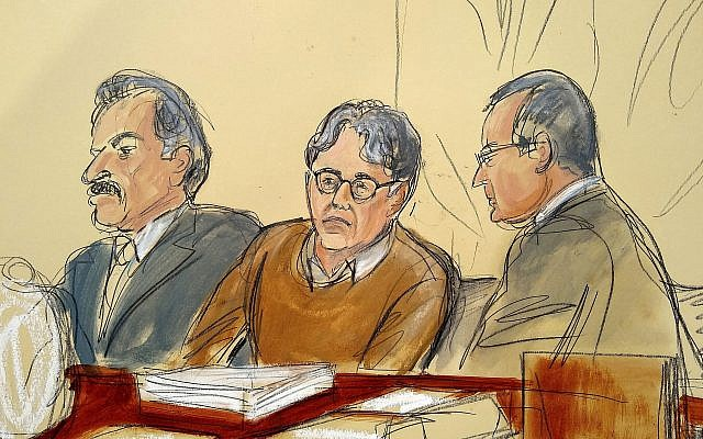 In this courtroom drawing, defendant Keith Raniere, center, is seated between his attorneys Paul DerOhannesian, left, and Marc Agnifilo during the first day of his sex trafficking trial, Tuesday, May 7, 2019. (Elizabeth Williams via AP)