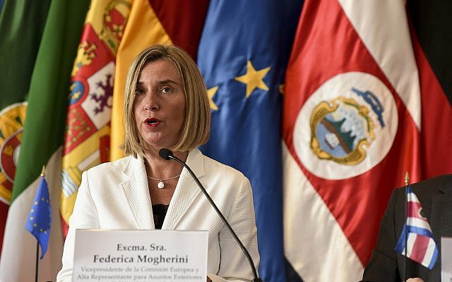 European Union foreign policy chief Federica Mogherini speaks during a press conference in San Jose, Costa Rica,  May 7, 2019. (Carlos Gonzalez /AP)