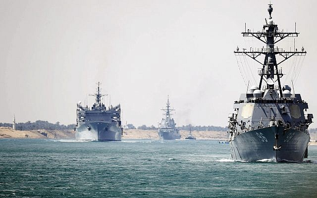 In this photo provided by the US Navy, the Abraham Lincoln Carrier Strike Group transits the Suez Canal, Thursday, May 9, 2019. (Petty Officer 3rd Class Darion Chanelle Triplett/US Navy via AP)