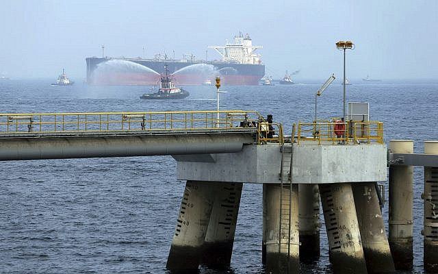 In this Sept. 21, 2016 photo, an oil tanker approaches to the new Jetty during the launch of the new $650 million oil facility in Fujairah, United Arab Emirates (AP Photo/Kamran Jebreili)