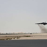 In this Sunday, May 12, 2019 photo released by the U.S. Air Force, a U.S. Air Force B-52H Stratofortress aircraft assigned to the 20th Expeditionary Bomb Squadron takes off from Al Udeid Air Base, Qatar. (Staff Sgt. Ashley Gardner, U.S. Air Force via AP)