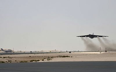 A US Air Force B-52H Stratofortress aircraft assigned to the 20th Expeditionary Bomb Squadron takes off from Al Udeid Air Base, Qatar, May 12, 2019. (Staff Sgt. Ashley Gardner, US Air Force via AP)