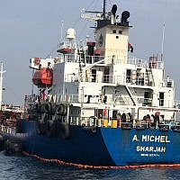 "The Emirati-flagged oil tanker A. Michel, May 13, 2019, one of four ships damaged in what Gulf officials called a ""sabotage"" attack off the coast of the United Arab Emirates. (UAE National Media Council via AP)"