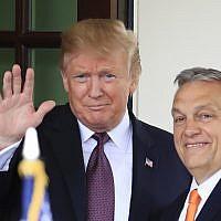 US President Donald Trump welcomes Hungarian Prime Minister Viktor Orban to the White House in Washington, Monday, May 13, 2019. (AP Photo/Manuel Balce Ceneta)
