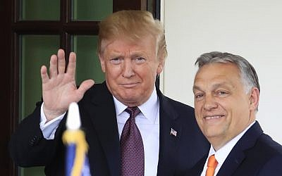 US President Donald Trump welcomes Hungarian Prime Minister Viktor Orban to the White House in Washington, Monday, May 13, 2019. (AP Photo/Manuel Balce Ceneta)