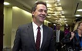Montana Governor Steve Bullock walks to a meeting during the National Governors Association 2019 winter meeting in Washington. (Jose Luis Magana/AP