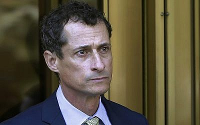 In this file photo from September 25, 2017, former US congressman Anthony Weiner leaves federal court following his sentencing in New York. (AP Photo/Mark Lennihan, File)