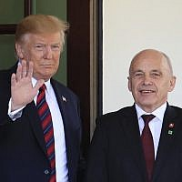 President Donald Trump welcomes Switzerland's Federal President Ueli Maurer to the White House in Washington, May 16, 2019. (AP Photo/Manuel Balce Ceneta)