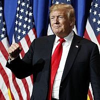 US President Donald Trump arrives to speak at the National Association of REALTORS Legislative Meetings and Trade Expo, May 17, 2019, in Washington. (AP Photo/Alex Brandon)