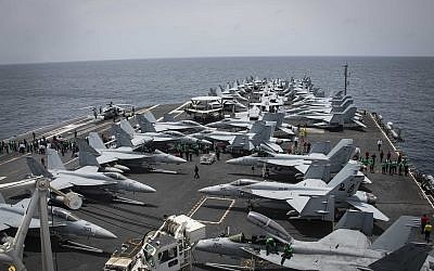The flight deck of the Nimitz-class aircraft carrier USS Abraham Lincoln in the Arabian Sea, on May 19, 2019. (Mass Communication Specialist 3rd Class Garrett LaBarge/US Navy via AP)