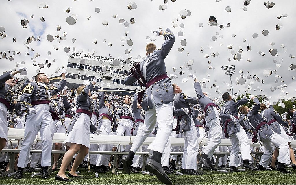 West Point cadets toss their caps into the air at the end of graduation ceremonies at the United States Military Academy, Saturday, May 25, 2019, in West Point, New York. (AP Photo/Julius Constantine Motal)