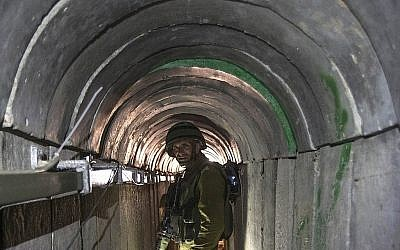 Illustrative: A Hamas tunnel from Gaza to Israel, 2014. (AP Photo/Jack Guez, Pool)